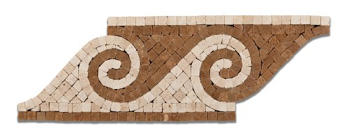 Noce & Ivory Travertine Wave Tumbled Border / Listello - Box of 5 Pcs.
