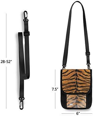 トラベルウォレット ミニ ネックポーチトラベルポーチ ポータブル タイガースキン 小さな財布 斜めのパッケージ 首ひも調節可能 ネックポーチ スキミング防止 男女兼用 トラベルポーチ カードケース
