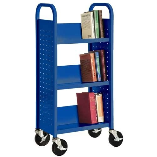 Sandusky Lee SL33017-06 Single Sided Sloped Shelf Book Truck, 14'' Length, 18'' Width, 46'' Height, 3 Shelves, Ocean