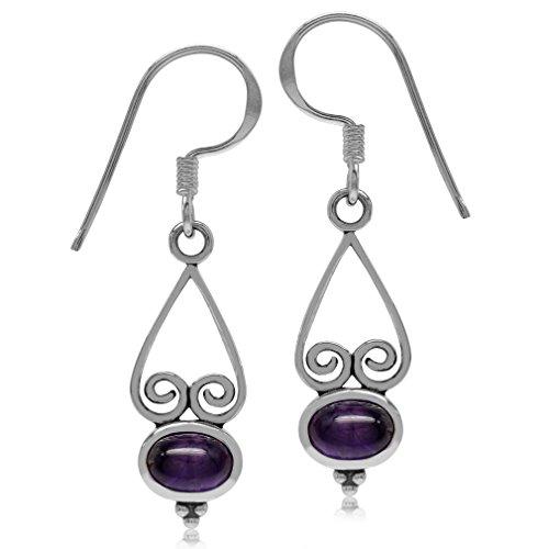 Style Amethyst Cabochon Earrings - Cabochon Amethyst 925 Sterling Silver Heart Victorian Style Dangle Hook Earrings