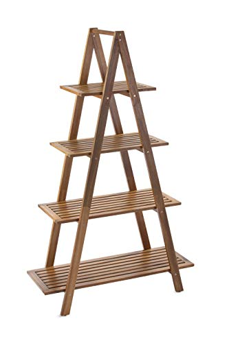 Sunset Garden SG-105NTR | Cascade Shelf | 4-Tier Real Wood Ladder Bookcase, Natural ()