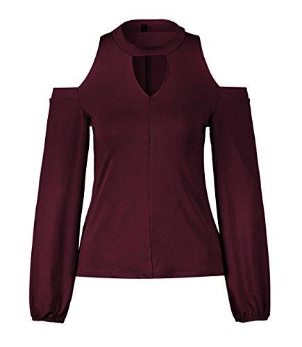 Onlyoustyle Donna Fashion Senza Spalla Maglie a Manica Lunga Maglietta Bluse Casual Tinta Unita Camicie Top T-Shirt Vino Rosso