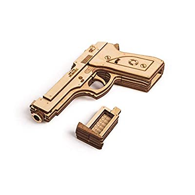 Wood Trick Wooden Toy Guns Set with Targets Shooting Range, Pistol Toy Guns for Kids Set - M9 & Mouser - 3D Wooden Puzzle, Assembly Model, Best DIY Toy - STEM Toys for Boys and Girls: Toys & Games