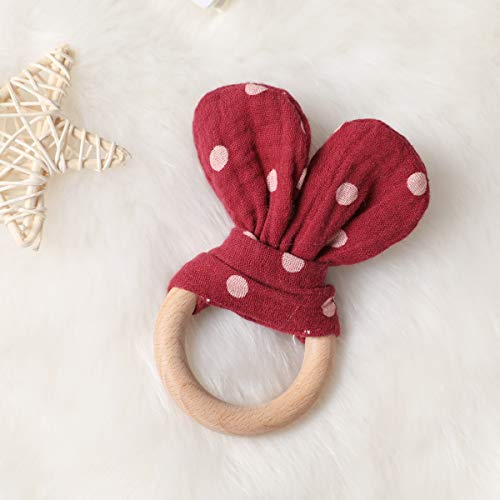 Organic Cotton Bunny Ear Montessori Toys Beech Wood Teething Ring and Polka Dot Pattern Rabbit Ear Fabric Sensory Rattle Toy Baby Nursing Accessories for Newborn