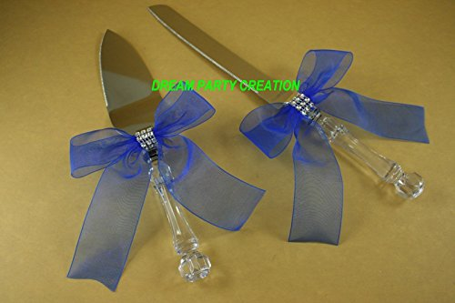 Bead Wedding Cake Knife - Cake Knife & Server Set with Organza Bow & Faux Rhinestone Accent Choose Bow Color (Royal Blue)