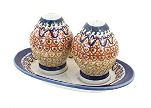 Polish Pottery Fall Moon Salt & Pepper Shakers with Plate