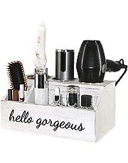 ROLOWAY Wooden Hair Tool Organizer - Blow Dryer Holder - Curling Iron Holder - Flat Iron Holder - Hair Styling Tools & Accessories Organizer - Bathroom Vanity Countertop Organizer