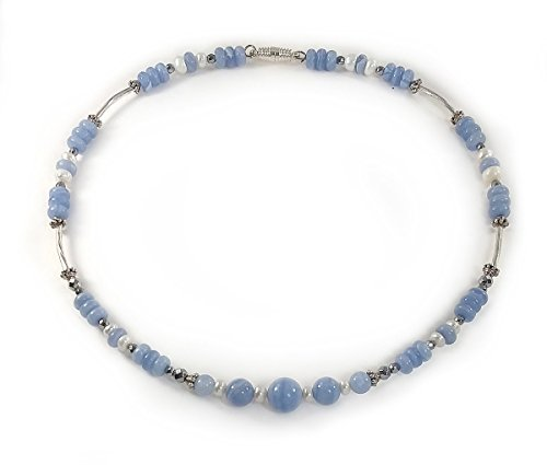 Blue Lace Agate and Freshwater Pearl Choker Necklace - SALE Now $30 w/FREE SHIPPING (was $40)
