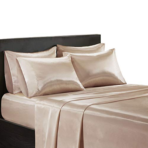 Madison Park Essentials Satin Wrinkle-Free Luxurious 6-Piece Sheet Set, Cal King, Blush