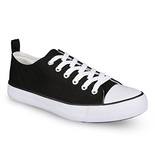 Twisted Womens KIX LO Retro Canvas Low Top Lace-Up Sneaker - BLACK/WHITE, Size 8