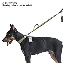 OneTigris Tactical Adjustable Dog Leash Nylon Elastic Bungee Traffic Lead (Coyote Brown)