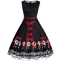 Mysky Fashion Women Vintage Santa Claus Print Lace Up Swing Dress Ladies Casual Bowknot Plus Size A-Line Dress