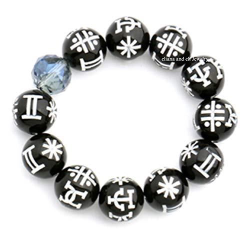Eliana and Eli Black Panther KIMOYO Beads Bracelet Wakanda Cosplay Props with Crystal Bracelet Party Accessories -