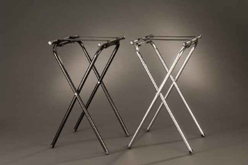 American Metalcraft CTS31 Tall Deluxe Chrome Tray Stand with Nylon Straps, 31-Inch, Black