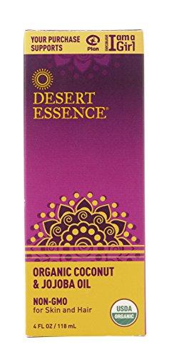 Desert Essence Organic Coconut and Jojoba Oil - 4 Fl Oz - For Skin and Hair - Beauty Oil - No Oily Residue - Absorbs Quickly - Rejuvenates Skin - USDA Certified - Moisturizes Skin ()