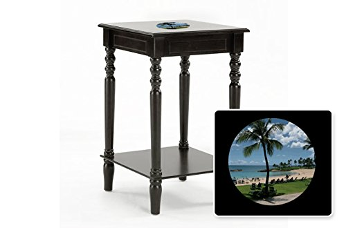New Black Finish Square Top Night Stand End Table featuring Hawaii Logo by The Furniture Cove
