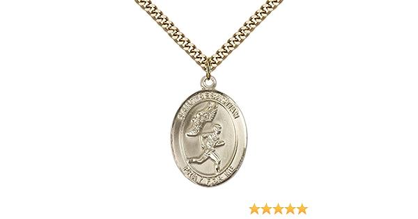 14kt Gold St Sebastian//Football Medal Patron Saint Athletes//Soldiers 1//2 x 1//4