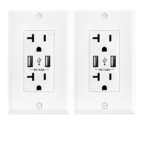 Wall Electrical Outlet with 5V/4.8A Dual High Speed USB Charger,20A Tamper-Resistant Receptacle Outlet White Color 2 ()