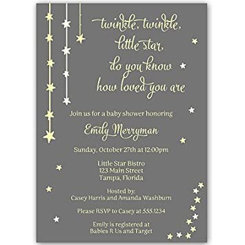Amazoncom Twinkle Little Star Baby Shower Invitations Gender