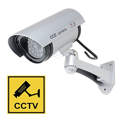 Aexit Fake Dummy Electronic security Realistic Looking Imitation Camera Red LED Blinking AA Battery Powered Silver Tone