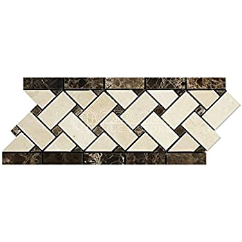 Crema Marfil Spanish Marble Basketweave Border Mosaic Tile with Emperador Dark Marble Dots, Polished