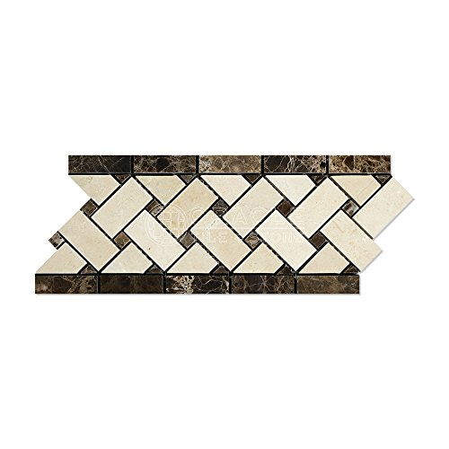 - Crema Marfil Spanish Marble Basketweave Border Mosaic Tile with Emperador Dark Marble Dots, Polished