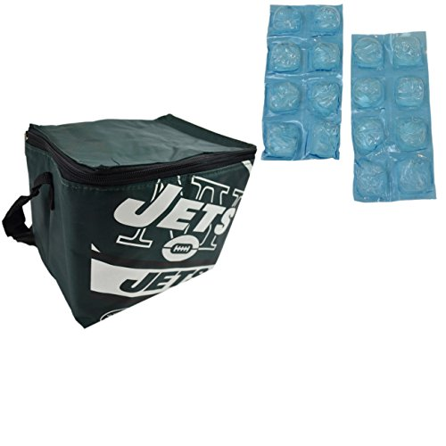 NFL Shop Collapsible Insulated Lunch Bag with Re-freezable Ice Packs Bundle (New York Jets)