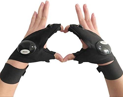 coroler Cool指なしLED懐中電灯手袋の修復、Darknessで作業場所、釣り、キャンプ、ハイキング、アウトドア活動(Left Hand)