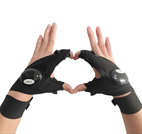 Coroler Cool Fingerless LED Flashlight Gloves for Repairing,Working in Darkness Places, Fishing, Camping, Hiking and Outdoor Activities (One Pair) (1 Gloves Magic)