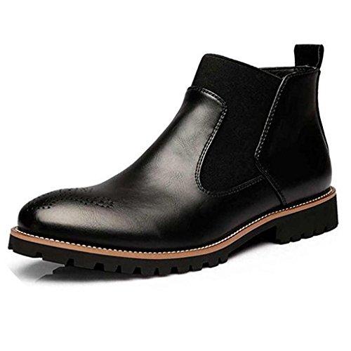 uomini Boots Inverno Nero Morbida Stivaletti degli Pelliccia In fur Marrone Stile rosso Pelle Chelsea Moda Scarpe Britannico Casual di Brogues Nero IrEEqwfxH