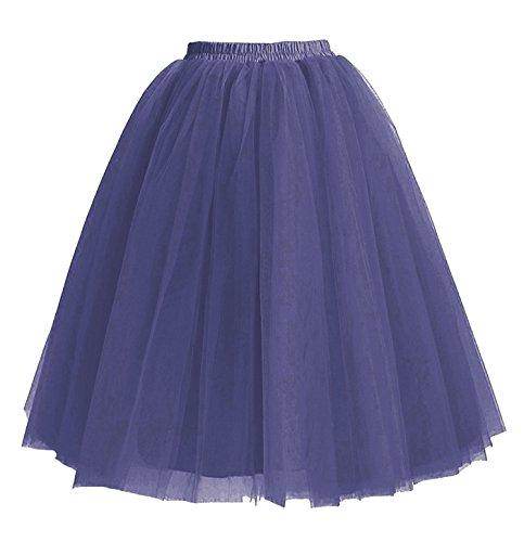 Facent Mujer Adultos Midi Tutu Falda Tul Enaguas para Disfraz Halloween Azul Marina Oscuro