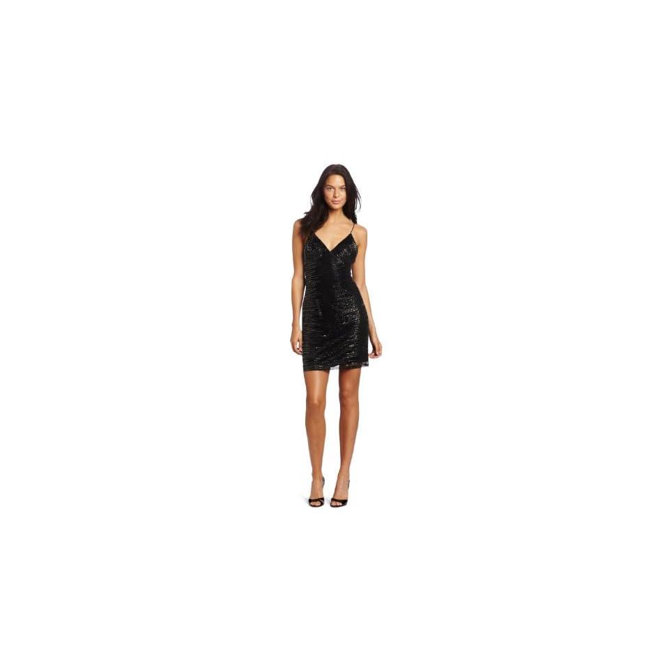 Adrianna Papell Womens Black Spaghetti Strap Beaded Cocktail Dress, Black, 8