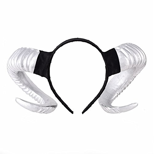 Xiaolanwelc Costumes Gothic Sheep Horn Punk Headband Forest Animal Photography Cosplay Photo Props Steampunk Hair Accessory Handmade (Silvery) ()