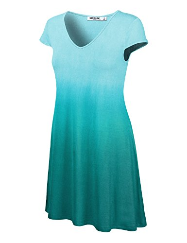 (WDR1089 Womens Ombre V Neck Cap Sleeve T Shirt Dress L TEAL)