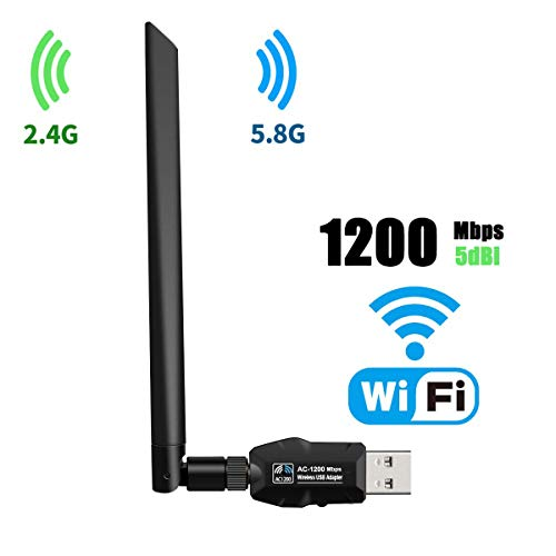 USB WiFi Adapter 1200Mbps, USB 3.0 Wireless Network WiFi Dongle with 5dBi Antenna for PC/Desktop/Laptop/Mac, Dual Band 2.4G/5G 802.11ac,Support Windows 10/8/8.1/7/Vista/XP, Mac10.5-10.14 (Black)