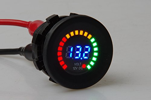 12V Color LED DC Digital Display Voltmeter Panel Waterproof Tester Volt Gauge for Car Motorcycle Truck Boat Marine by KNACRO