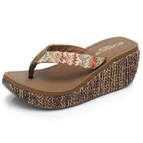 (ChyJoey Women's Bohemian Wedge Flip Flops Clip Toe Slip On Weave Mid Heel Platform Thongs Beach Sandal Brown)