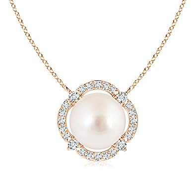 Angara Floating Freshwater Cultured Pearl Pendant with Diamond Halo 7hGijMFf