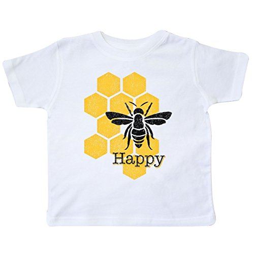 inktastic - Honeycomb Bee Happy Toddler T-Shirt 2T White -