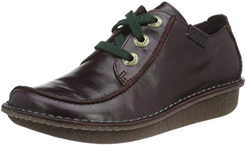 Clarks Funny Dream, Zapatos de Cordones Derby para Mujer Morado (Aubergine Leather)
