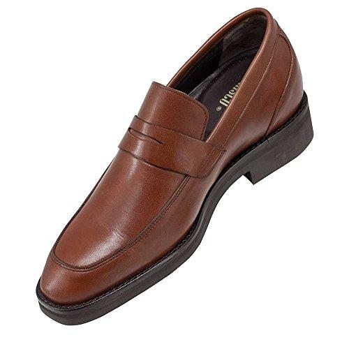 cm Piel Hombre Aumentan Milan Fabricados Zapatos con Modelo de Alzas Que Marron Hasta 7 Altura Masaltos EN qpvwxAOA