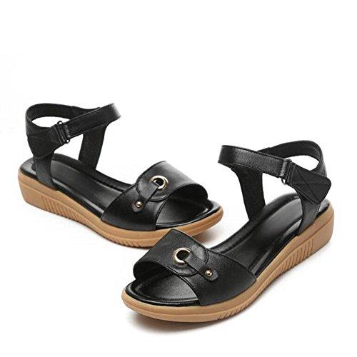 Bug mit Leder Sandalen Sandalen Sommer, Farbe schwarz, 40