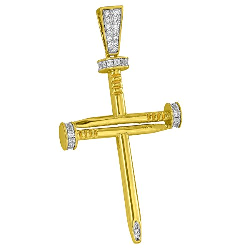 Jesus Nail Cross Pendant Crucifix Pave Set Simulated Diamonds Gold Plated New