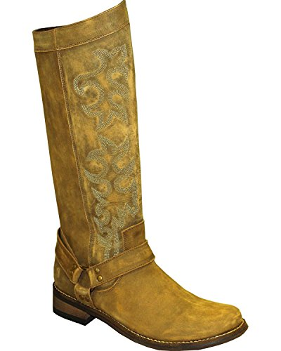 Abilene Mujer's Rawhide Por 12 Tall Side Zipper Arnés Bota Round Toe - 5911 Marrón