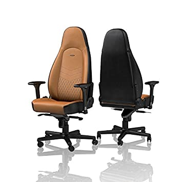 noblechairs ICON Gaming Chair – Office Chair – Desk Chair – Real Leather – Ergonomic – Cold Foam Upholstery – 330 lbs – Racing Seat Design – Cognac Blue Gunmetal