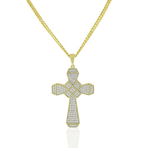 925 Sterling Silver Yellow Gold-Tone Clear CZ Large Hip-Hop Statement Cross Pendant Necklace, 30'' by My Daily Styles