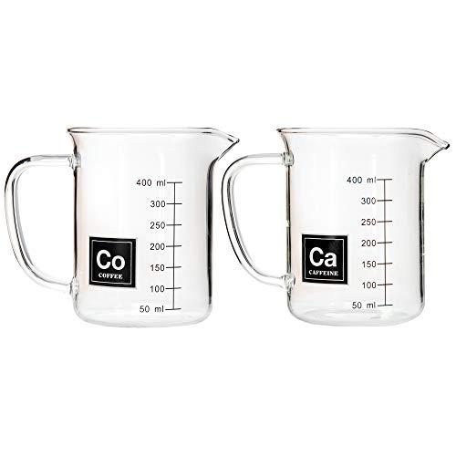 Drink Periodically Set of 2 Laboratory Beaker Mugs 1 Caffeine Mug and 1 Coffee Mug-13.5oz Each