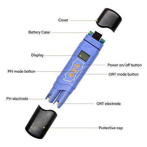 Huanyu PH/ORP/Temp Medidor 3 en 1 Redox Tester -1999mV ...