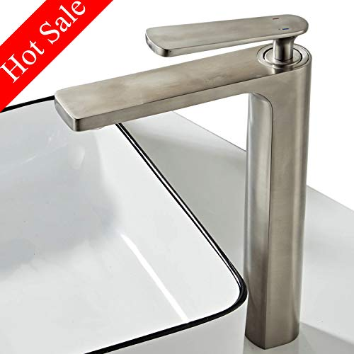 - Bathroom Tall Vessel Basin Faucet Modern Brushed Nickel Brass Basin Mixer Tap One Hole Single Handle Faucets,BL6601NH