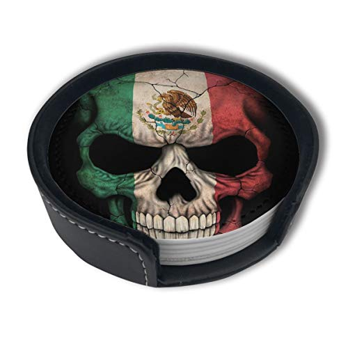 HBLSHISHUAIGE Mexican Flag Skull Coasters with Holder Set,Round Mugs and Cups Mat Pad for Drinks,Suitable for Home and Kitchen(6PCS)